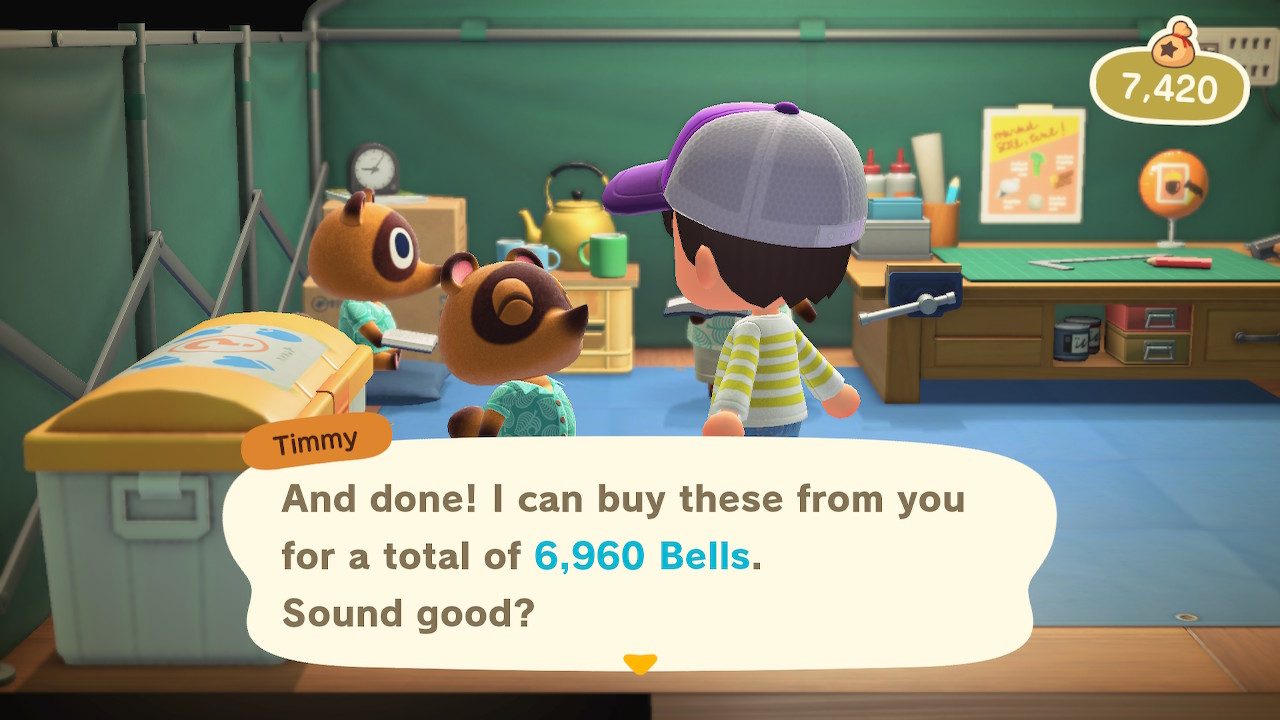 """""""Timmy: And done! I can buy these from you for a total of 6,960 bells. Sound good?"""" Bell count: 7,420"""