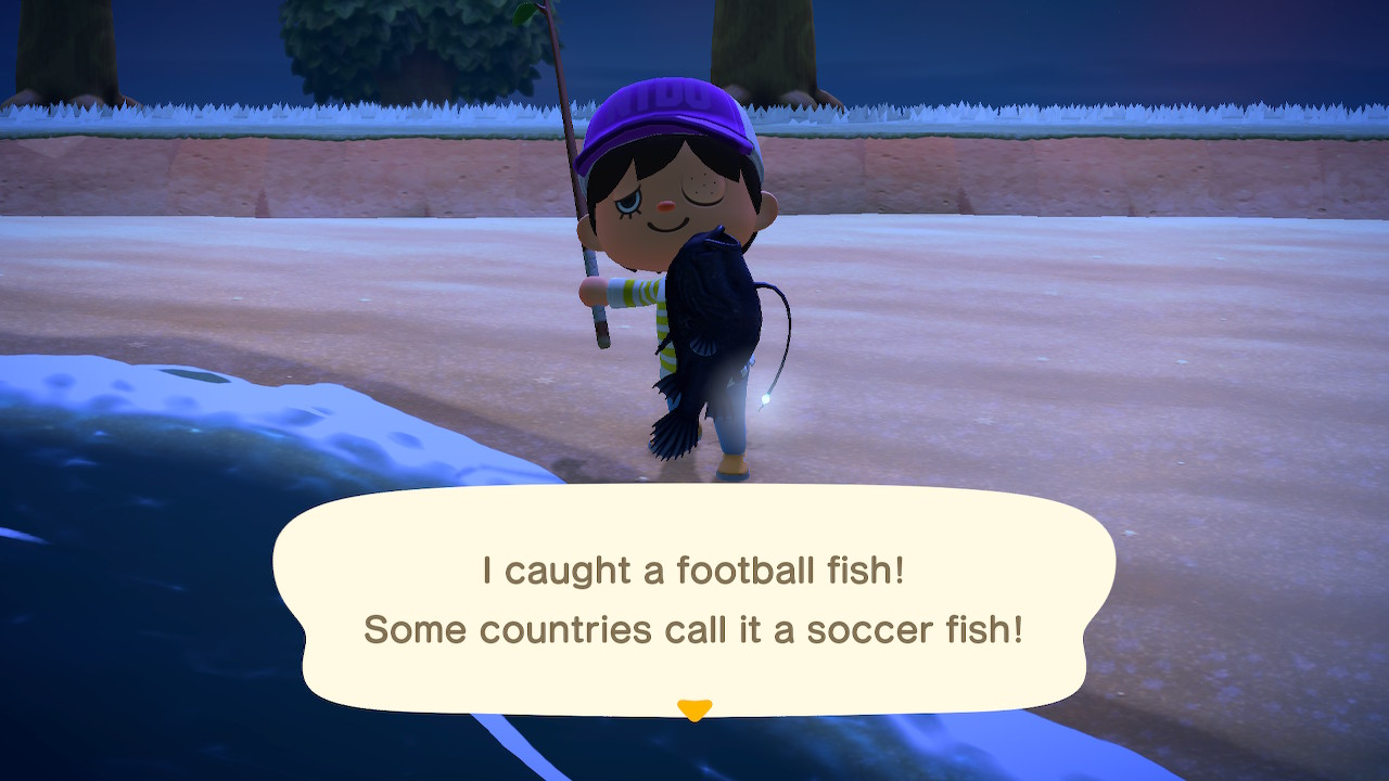 I caught a football fish! Some countries call it a soccer fish!
