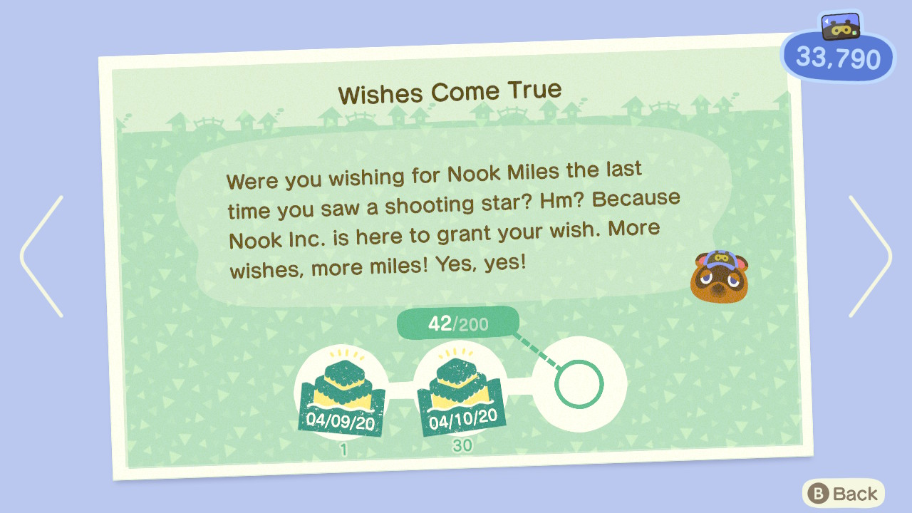 A fat 42 streak on my Nook Miles Shooting Stars stamp card